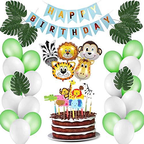 ASANMU Dschungel Geburtstag Deko, Kindergeburtstag Deko Party-Set Happy Birthday Girlande Luftballons Folienballon Tiere Palmblättern für Geburtstagsdeko Jungen, Themengeburtstag,Baby Shower Deko