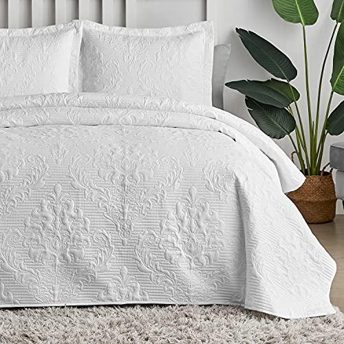 Hansleep Tagesdecke 220x240 cm Wohndecke weiß Bettüberwurf Mikrofaser Bettdecke für Schlafzimmer Stepp Decke Super Weich und Komfort Geeignet für Bett(Kreis)