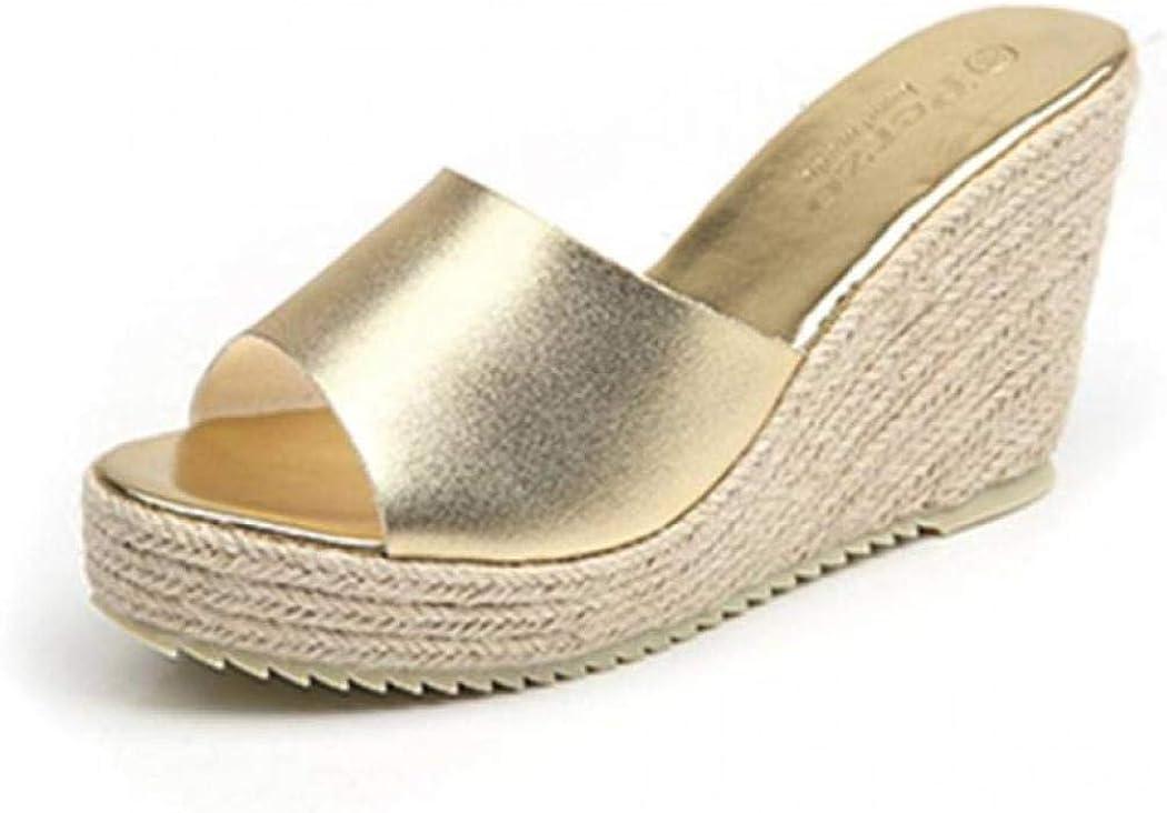 ChyJoey Women's Wedge Platform Slide Sandals Open Toe High Heel Espadrilles Summer Casual Slip On Sandal