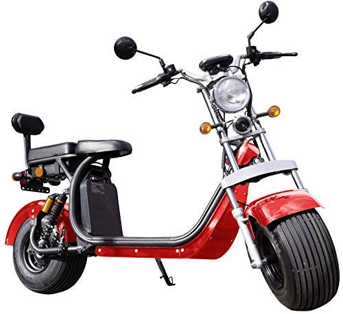 Trendyshop365 Elektroroller für Erwachsene 45kmh mit Sitz und Straßenzulassung Breitreifen E-Scooter Rot