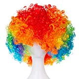 Unisex Short Fluffy Afro Funny Wigs for Halloween,Holiday Party Clown Costume (Rainbow)