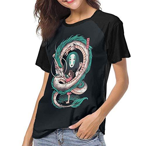 Kmehsv Damen Raglan Baseball T-Shirt Spirited Away Art Gedruckt Rundhalsausschnitt Lässige T-Shirts Tee Tops