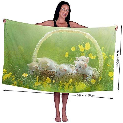 Yocmre badhanddoek kat in de mand bedrukt microvezel strand/zwembad/bad handdoek voor Unisex 130 * 80cm (52x32 inch) super zacht, zeer absorberend