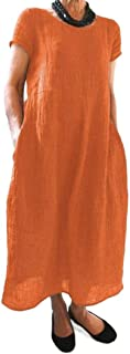neveraway Women's Linen Short-Sleeve Solid-Colored Baggy Plus-Size Maxi Dress