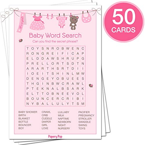 Baby Shower Games for Girls - Set of 5 Activities - (50 Cards Each, 250 Total) - Baby Shower Supplies