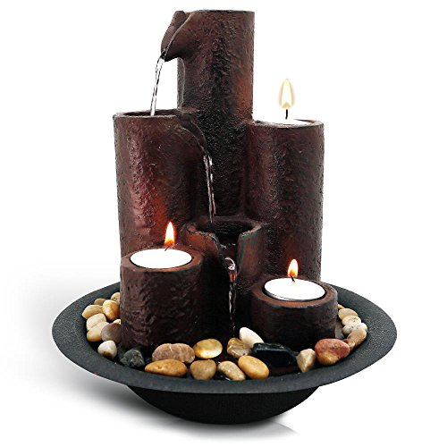 SereneLife Desktop Waterfall Fountain (3-Tier) | Cascading Tabletop Water Decoration | Indoor, Outdoor, Patio or Garden Use | 3 Candles and River Rocks Included.