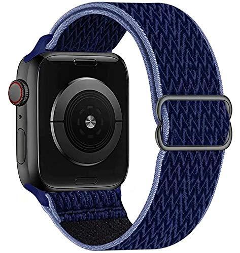 GBPOOT Compatibile con Cinturino Nylon solo loop per Apple Watch 38mm 40mm 42mm 44mm, Cinturino di Ricambio Lo Sport in Elastico in Nylon per Iwatch 6/SE/5/4/3/2/1,Blu notte nero,42/44mm