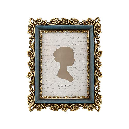 Sunlit Marco de fotos vintage de 13 x 18 cm, marco de fotos antiguas con parte frontal de cristal, exhibición de fotos ornamentadas, para colgar en la pared, ideas de regalo, 13 x 18 cm