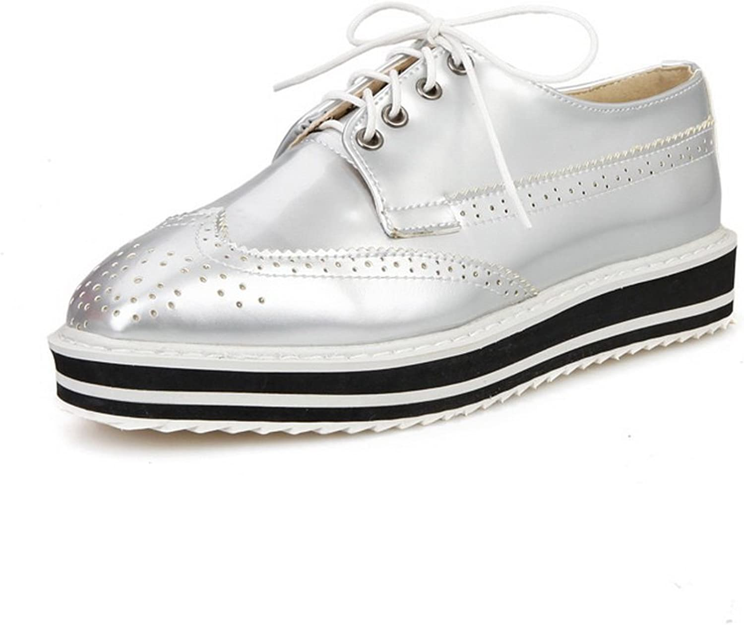 BalaMasa Ladies Lace-up Square-Toe Solid Patent Leather Pumps-shoes