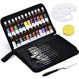 Juego de Pinceles para Pintura Acrilica - 24 Pintura Acrílica con 18 Set de Pinceles Profesional Para Acuarela, Temperas, Pintura Facial para Artistas, Adultos y Niños Negro