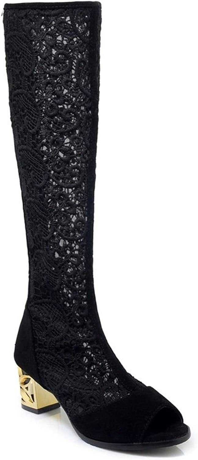 President high-Heeled Sandals Cool Boots Rough with Lace Exposed Large Numbers of Fish Mouth high-Boots