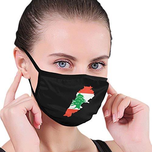 Libanon Flagge Karte Männer Frauen Kinder Teenager Grafiken Half Face Waschbar Wiederverwendbare Ohrwärmer Kopfbedeckung Cosplay Mund-Abdeckung