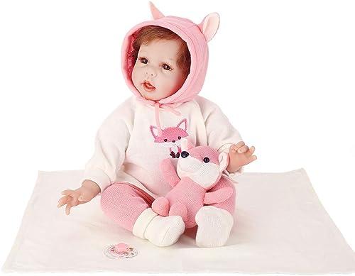0Miaxudh Reborn-Puppe, 55cm Reborn Baby, Vinyl-Silikon-Puppe-Spielzeug mit Cartoon Fox-Stickerei-Kleidung braun Eyes