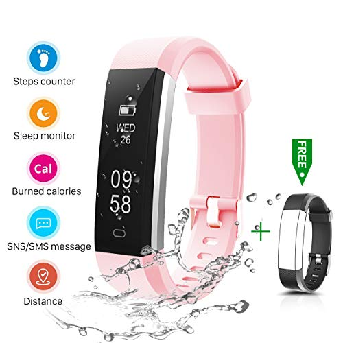 CHEREEKI Fitness Tracker, IP67 Impermeabile Orologio Smartwatch Sleep Monitor Leggi Messaggio da SMS, Whatsapp, Facebook, Skype (Rosa)