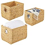 mDesign Juego de 3 cestas Trenzadas con Asas – Organizador de estantes para...