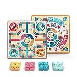 Hbing 2 en 1 Ludo+L'oie Juego de mesa de madera de dos caras para niños Pachisi aprendizaje juegos de dados para adultos niños para 2-4 jugadores (color: doble cara)