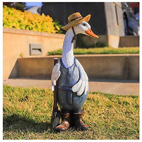 Dekofigur Gans Ente Vogel Figur Skulptur Gartenfigur, Gartenente mit Hüten, Tierente Harz Bastelstatue, Entenskulptur Ornamente für DIY...