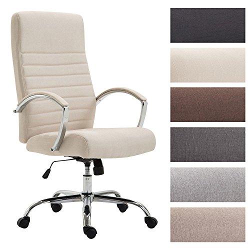 CLP Bürostuhl XL VALAIS mit Stoffbezug, Chefsessel, Drehstuhl mit Armlehnen, Bürodrehstuhl mit hochwertige Polsterung, max. Belastbarkeit 136 kg, Creme