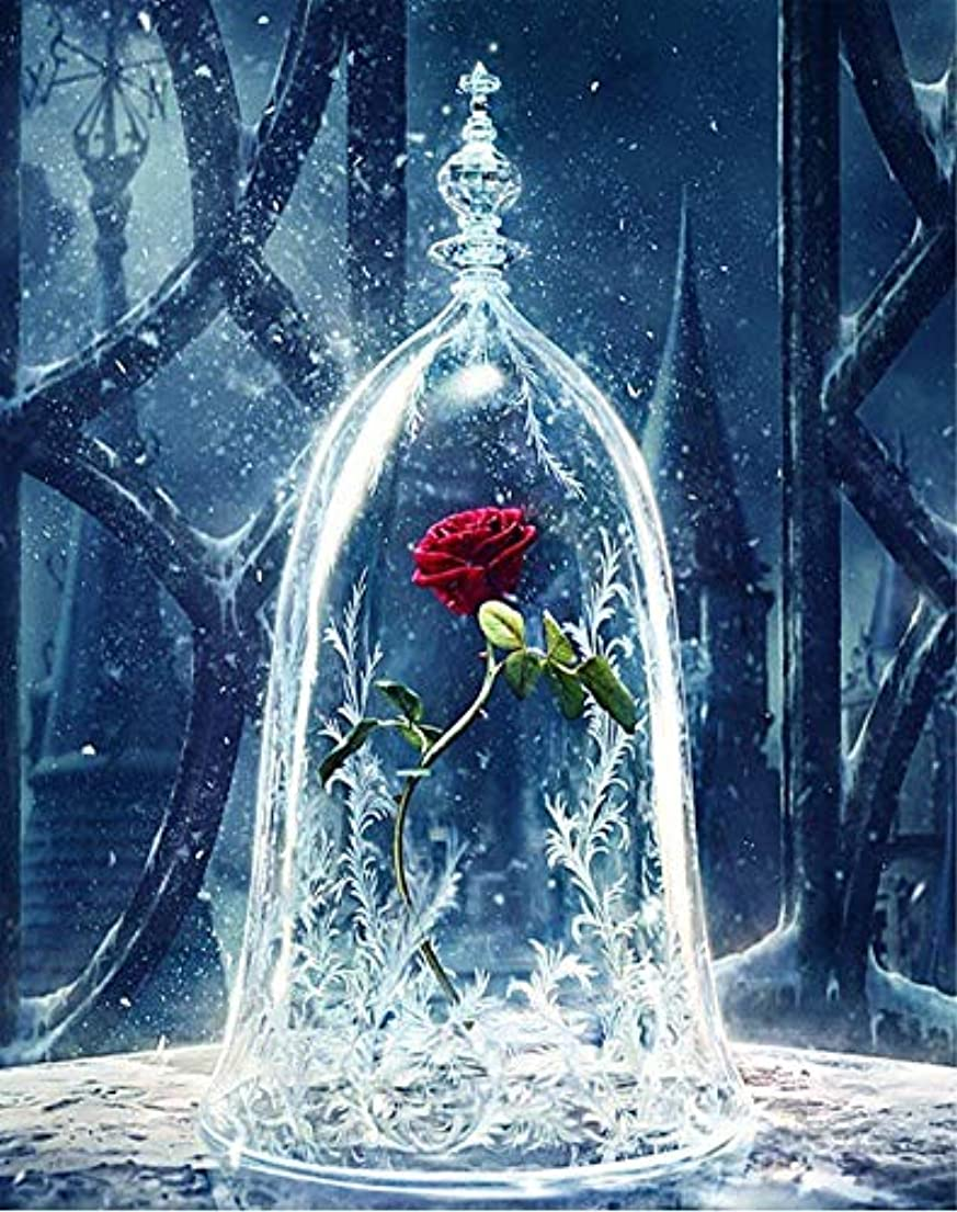 YEESAM ART DIY Paint by Numbers for Adults Beginner Kids, Roses in Glass Dome, Enchanted Rose Flowers, Beauty and The Beast 16x20 inch Linen Canvas Acrylic xwpqg6745167874