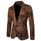 Harpily Slim Traje para Hombre, Americana con Estampado de Leopardo Traje Casual de Fiesta de Negocios con un botón (L, Marrón)