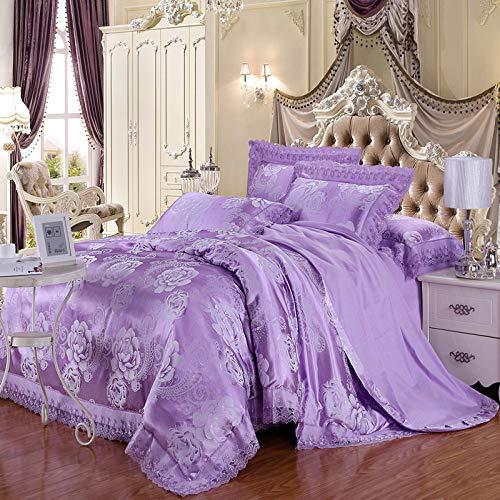 Yaonuli Bruiloftsbeddengoedset met vier sets Tiansi Satin, Palazza, geur, aangename wind - Blauw, 2 m bed, sprei 220 x 240 cm