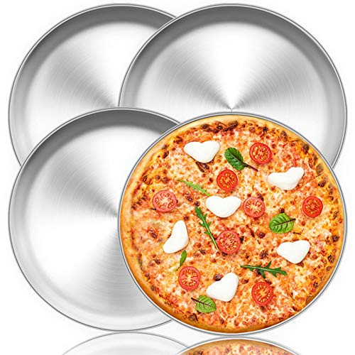 TeamFar Pizza Pan, 12 inch Pizza Pan Set Round Pizza Oven Baking Pans Tray Stainless Steel for Home Restaurant Party, Healthy & Heavy Duty, Dishwasher Safe & Easy Clean - Set of 4