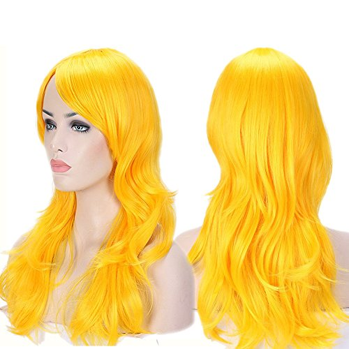 """Anime Cosplay Wigs Big Wave Wig Layered with Bangs and Cap Wigs for Women (24""""-Wavy,yellow)"""