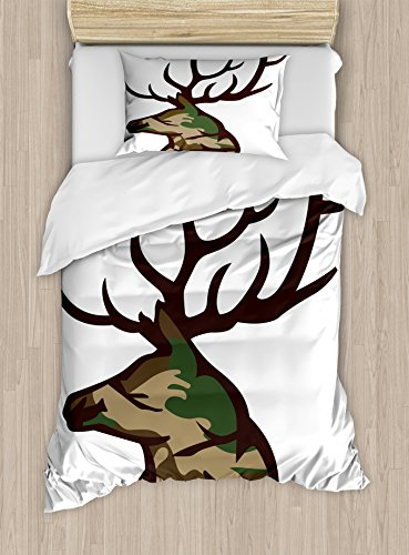 Ambesonne Antler Duvet Cover Set, Stag Deer Portrait with Camouflage Pattern Hunting Desig Hobby Mammal Design, Decorative 2 Piece Bedding Set with 1 Pillow Sham, Twin Size, Brown Cocoa