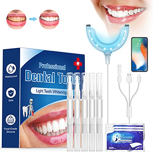 Kit de Blanqueamiento Dental-Blanqueador Dental Profesional, Blanqueamiento de Dientes, Cuidado Dental Eficaz,Sin Dolor,Cuidado Dental Casero Perfecto, No es necesario reemplazar la batería, Cargable