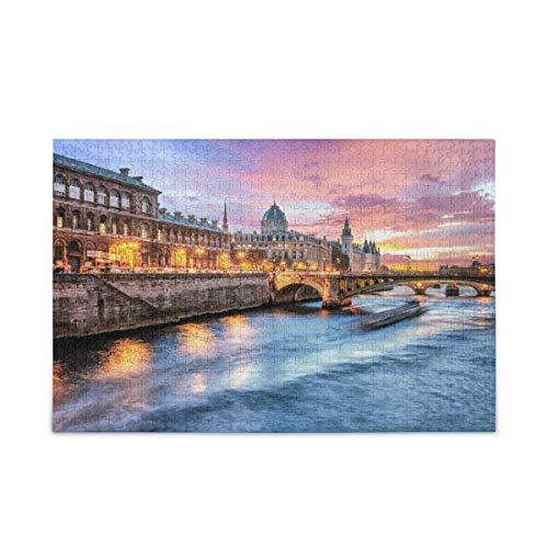 Rompecabezas Puzzle Rompecabezas del puente Napoleón de París con Seine Rive Rompecabezas de Madera 75.5 X 50.3CM