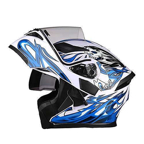 Full face Klapphelm,Full-Face Motorrad-Helm Integral-Helm Schnelle Schnalle Sommer Jethelm Bluetooth Helm DOT-Zertifizierung LED-Licht Anti-Fog-Linse Weiß Blau Teufel