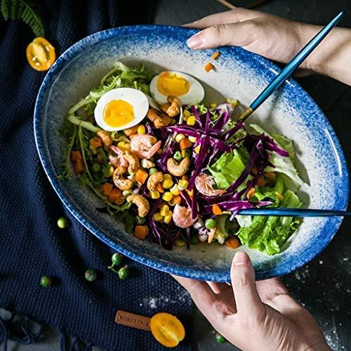HUAHUA Bowls De gran tamaño extra grande de ensalada de fruta oval Soup Bowl de fideos ramen tazón de cerámica Horno tazón apto for microondas de 12 pulgadas
