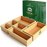 Bamboo Drawer Organizer Storage Box / Bin Set - Multi-Use Drawer Organizer for Kitchen, Bathroom, Office Desk, Makeup, Jewelry (5 Boxes)