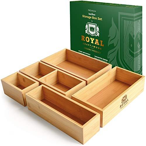 Royal Craft Wood Bamboo Drawer Organizer Storage Box For Kitchen