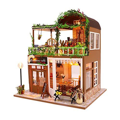 Izzya DIY Miniatura Casa De Muñecas con Muebles, Dollhouse Kit, Tienda de Cafe, 3D Casa De Madera Artesanal, Regalo De Cumpleaños De Navidad