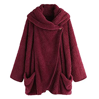 SEXYTOP Women Warm Ruching Plush Solid Coat Draped Long Sleeve Fleece Outerwear Button Zip Flannel Hooded Pocket Cardigan