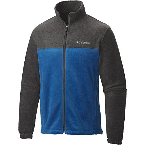 Columbia Men's Steens Mountain Full Zip 2.0 Soft Fleece Jacket, Charcoal Heather/Marine Blue, X-Large