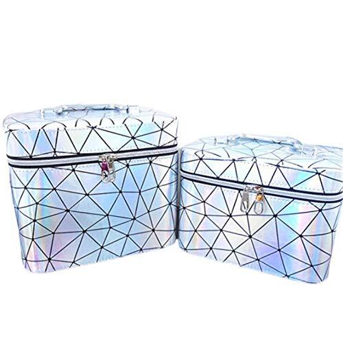 JLYLY Sac Cosmétique Femelle Portable De Grande Capacité Bagage À Main WC Stockage De Cas Cosmétique,Argent,S+L
