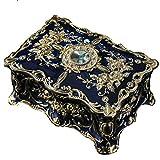 Joyero Vendimia de la joyería Europea Joyero Rectangular Decorativo de colección de joyería Cajas de Recuerdo for Las Mujeres Organizador Pendientes (Color : Blue)