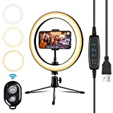 10.2' Ring Light with Tripod Stand Cell Phone Holder Selfie Light,LED Ring Light Shooting with 3 Light Modes 10 Brightness Level Dimmable Beauty Light for Live Stream/Makeup/Mini Camera Ring Light