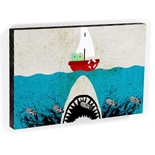 Schlüsselbrett Weißer Hai | Schlüsselboard mit lustigem Motiv | 5 Haken | Handmade