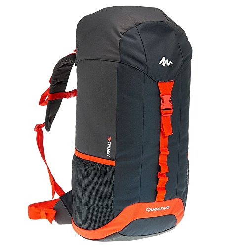Quechua Hiking Camping Water Repellent Backpack Rucksack Arpenaz 40L (Black/Orange)
