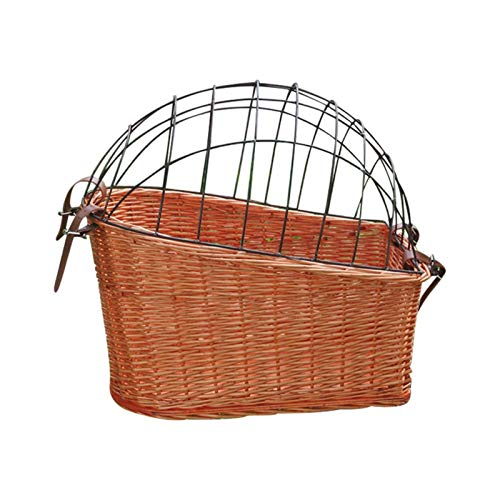 TOPATY Dog Rear Bike Basket Bicycle Basket up to 25lbs Waterproof Metal Wire Bicycle Basket with Adjustable Cargo Net aFits to Most Rear Bike Racks