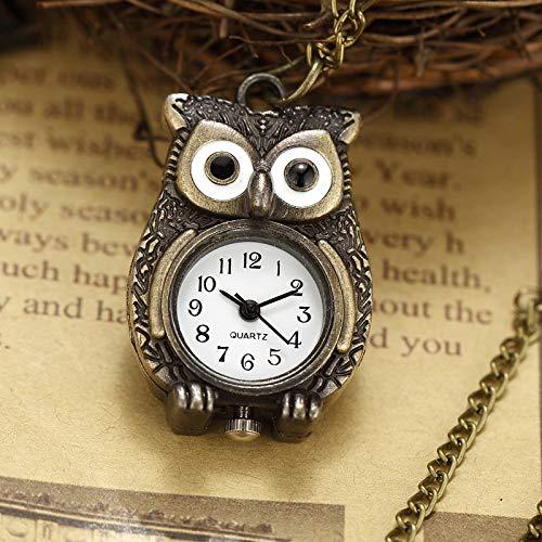 XVCHQIN Mini Owl Pocket Watch Womens Mens Watch Bronze Small Size Boys Quartz Watch with Necklace Chain Girls Gifts,bronze