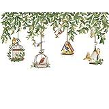 Pegatinas De Pared Pegatinas De Pared De Jaula De Pájaros De Vid Verde Nórdica Sala De Estar Dormitorio Sofá Fondo Decoración De Pared Vinilo Extraíble Deccals De Pared Decoración del Hogar-Picture C