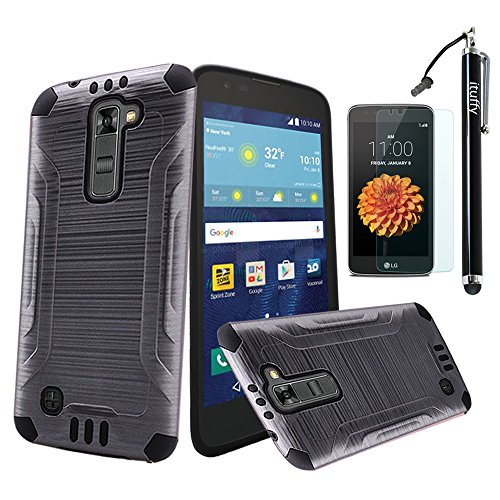 For LG Tribute 5 LS675, LG K7 ITUFFY (TM) 3items Combo: Screen Protector + Stylus Pen + Metal Design Dual Layer Impact Resistance Hybrid Armor Case (Grey)