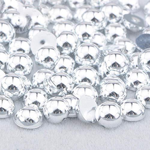 2 4 6 8 10 12 14mm Demi-Ronde Imitation Perle Noir AB Strass Perle Colle Sur Nail Art Décoration Dos Plat Perle Autocollant, Argent, 12mm 50 Pcs