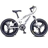 Cacoffay Bicicleta de montaña con Tenedor Suspensión Individual Velocidad Bicicleta Doble Desct Freno Sistema para niños Bicicleta, Niños Muchachas Montaña Bicicleta,Blanco,18IN