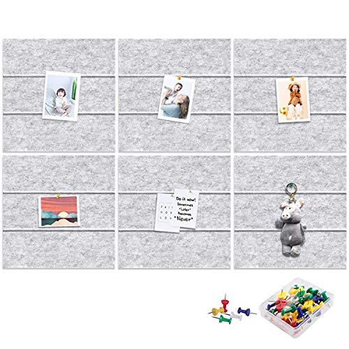 Yoillione Felt Pin Board for Bedrooms Office Home, Bulletin Boards Square Notice Board Grey Memo Board for Wall Decoration, DIY Hexagon Cork Board Tiles Self Adhesive Pinboard