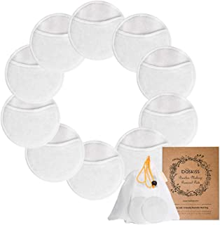 10 Pack Bamboo Makeup Remover Pads with Laundry Mesh Bag by Baskiss, Chemical free, Organic Reusable Soft Facial and Skin ...